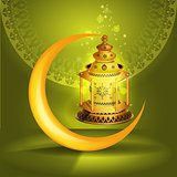Vector Ramadan kareem vector greetings design with lantern or fanoos mock up with green background.