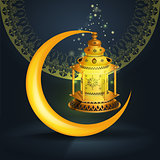 Vector Ramadan kareem vector greetings design with lantern or fanoos mock up with blue background.