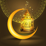 Vector Ramadan kareem vector greetings design with lantern or fanoos mock up with golden background.