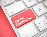 Traffic Conversion - Text on Red Keyboard Keypad. 3D.