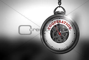Cooperation on Pocket Watch Face. 3D Illustration.