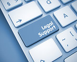 Legal Support - Inscription on  Keyboard Key. 3D.