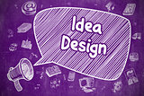 Idea Design - Cartoon Illustration on Purple Chalkboard.