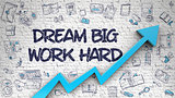 Dream Big Work Hard Drawn on Brick Wall. 3d