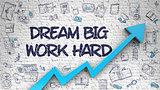 Dream Big Work Hard Drawn on Brick Wall. 3d