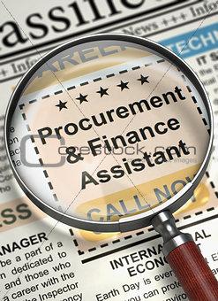 Job Opening Procurement And Finance Assistant. 3D.