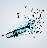 Music abstract background with trumpet