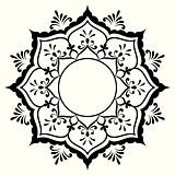 Decorative black and white frame with circular mehndi ornament.