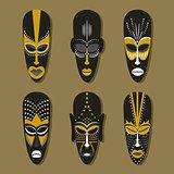 Set of ethnic tribal masks.