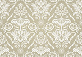 Wallpaper with White Damask Pattern