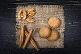 oatmeal cookies, cinnamon on burlap