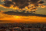 Amazing sunset over the city . Varna, Bulgaria