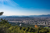 View of Athens from hymettus mountain, Greece.