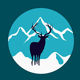 Wild deer in the mountains. Rustic vector emblem.
