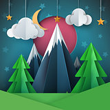 Cartoon paper landscape. Fir, mountain, moon, star illustration.