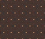 Seamless pattern with black gold hexagons and striped lines.