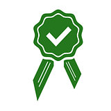 Green approved or certified medal icon in a flat design. Rosette icon. Award vector