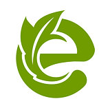 Logo e letter with leaves