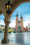Vertical postcard view of the main square of Krakow. Mary's chur