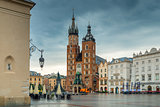 Photo of the main square of Krakow on a rainy morning
