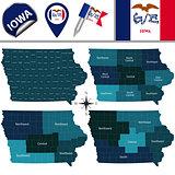 Map of Iowa with Regions