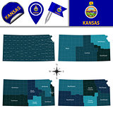 Map of Kansas with Regions