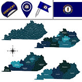 Map of Kentucky with Regions