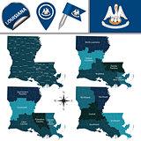 Map of Louisiana with Regions
