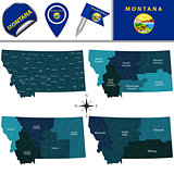 Map of Montana with Regions