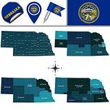 Map of Nebraska with Regions