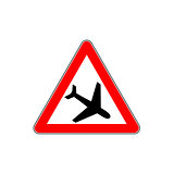 Low flying aircraft. Warning sign.