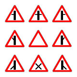 Road priority signs. Junction secondary road vector.