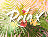 Bright exotic summer design with lettering integrated to tropical plants and flowers. Vector background of hibiscus flowers and royal and banana palm tree leaves.