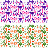 Vegetable border vector background for tins and bottles.