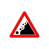 Road Warning falling stone sign on White Background