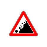 Road Warning falling stone sign on White Background