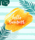 Hello Summer Gold Paint Glittering Textured Art Illustration. Vector Illustration