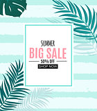 Summer Sale Abstract Banner Background with Palm Leaves Vector Illustration