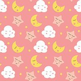 Cute Clouds, Star and Moons  Seamless Pattern Background Vector