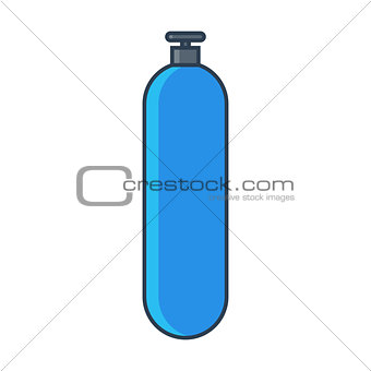 Blue Oxygen gas tank. Flat line vector illustration.