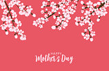 Happy Mother's day greeting card with Sakura flowers background. Vector Illustration