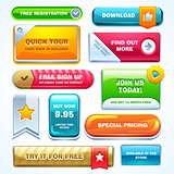 Colorful set of buttons for website or app.
