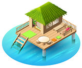 Tropical bungalow on water and woman lies in deckchair