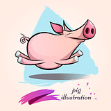 Funny, cute, crazy cartoon characters pig. Symbol of the year 2019.
