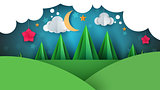 Cartoon paper landscape. Fir illustration. Moon, cloud, flower.