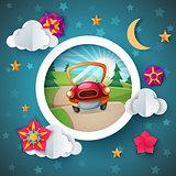 Cartoon landscape. Car illustration. Flower, cloud, moon, star.
