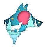Dog, wolf illustration. Cartoon paper landscape.
