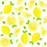 Fresh lemons background. Hand drawn overlapping backdrop. Colorful wallpaper vector. Seamless pattern with citrus fruits collection.