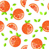 Tiled seamless pattern of cartoon orange slices in modern style. Healthy diet concept fruit print.