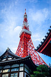Tokyo tower and traditional temple, Japan